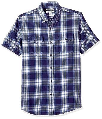 huge discount e5a44 f5569 Amazon Essentials - camicia da uomo a maniche corte, in twill, con due  tasche