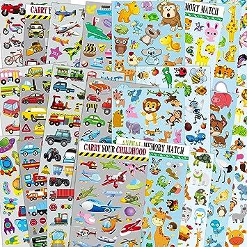 Sinceroduct Cars & Animales Pegatinas Paquetes para niños, 24 Hojas no Repetir Modelo Incluyendo Coches, avión, Tren, Coche de policía, Camiones de Bomberos, Insectos, Aves, Mariposas, Bestia Salvaje: Amazon.es: Juguetes y juegos