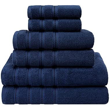 American Soft Linen Premium, Luxury Hotel & Spa Quality, 6 Piece Kitchen and Bathroom Turkish Towel Set, Cotton for Maximum Softness and Absorbency, [Worth $72.95] Navy Blue