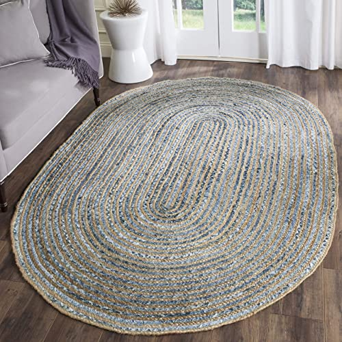 Safavieh Cape Cod Collection CAP250A Hand Woven Natural and Blue Jute Oval Area Rug 5 x 8
