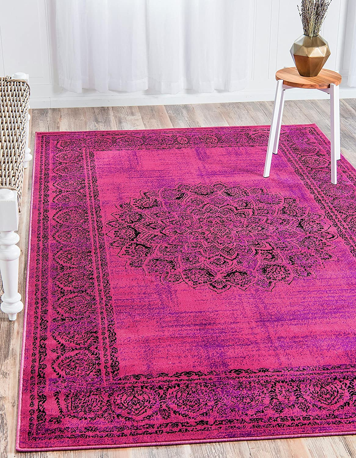 Unique Loom Imperial Collection Modern Traditional Vintage Distressed Fuchsia Area Rug (2' 0 x 3' 0)