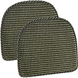 """Klear Vu Staten Gripper DelightFill Non-Slip Dining Chair Pads, 15"""" x 16"""", Set of 2 Cushions, 15"""" x 16"""" x 2"""", Herb"""