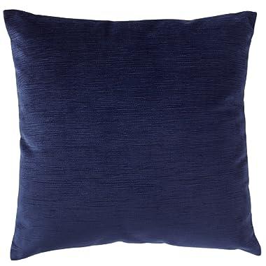 Stone & Beam Striated Velvet Linen-Look Decorative Throw Pillow, 17  x 17 , Midnight