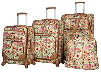 de10ade23dae Lily Bloom Luggage Set 4 Piece Suitcase Collection With Spinner Wheels For  Woman (Busy Bee)
