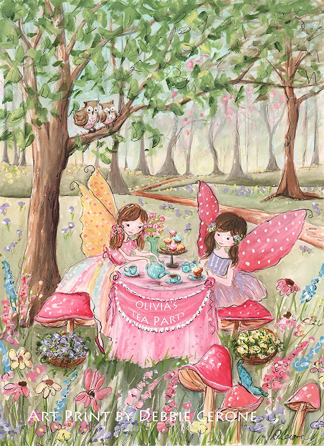 Fairy Room Decor For Girls Bedroom Or Nursery Personalized Fairy Tea Party Fine Art 6 Sizes Unframed
