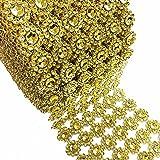 "LolaSaturdays 4""x 30FT Diamond Rhinestone Ribbon Wrap Roll- Cake and party decoration (flower, gold)"