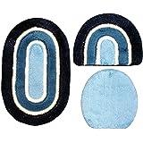 Set 80 X 50 Cm Oval Dunkelblau Blau Weiß Mit Glitzer