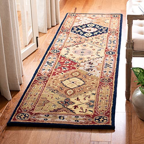 Safavieh Heritage Collection HG512B Handcrafted Traditional Oriental Multi and Red Wool Runner 2 3 x 10