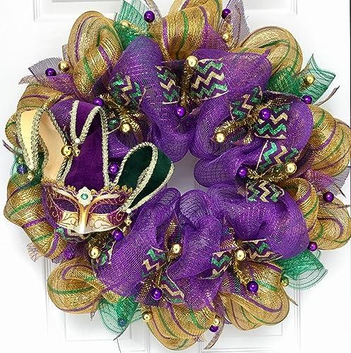 Amazon Com Mardi Gras Wreath Venetian Jesters Mask Handmade Deco