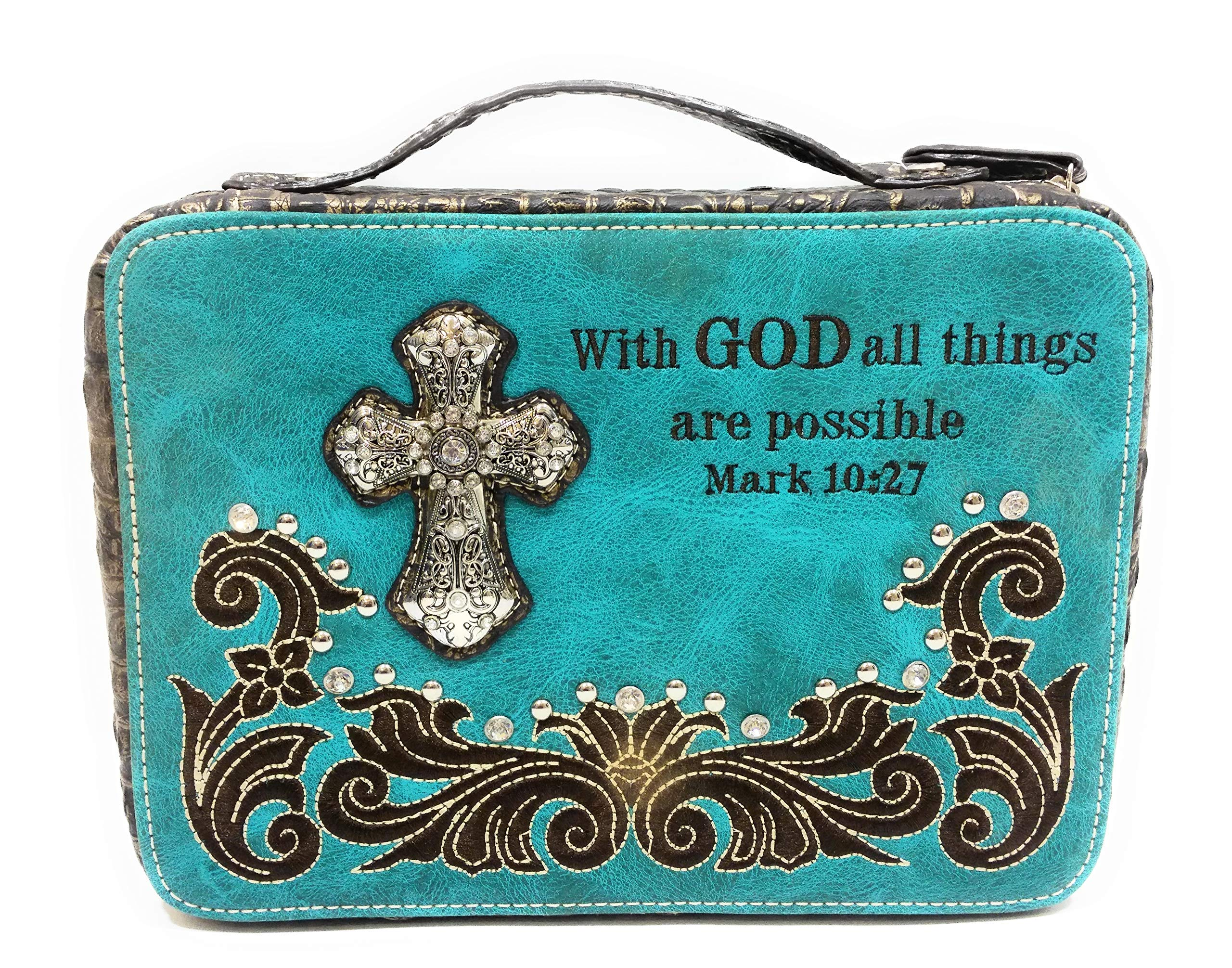 AH Rhinestone Cross Holy Bible Book Cover Case (with God Turquoise Blue) by H&A