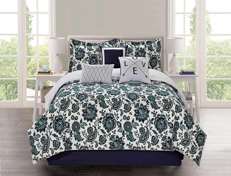 Cathay Home 108577-Q Nadine 7Pc Comforter Set Blue/Green/White