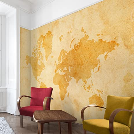 Non-woven Wallpaper - Vintage World Map - Mural Wide wallpaper wall ...