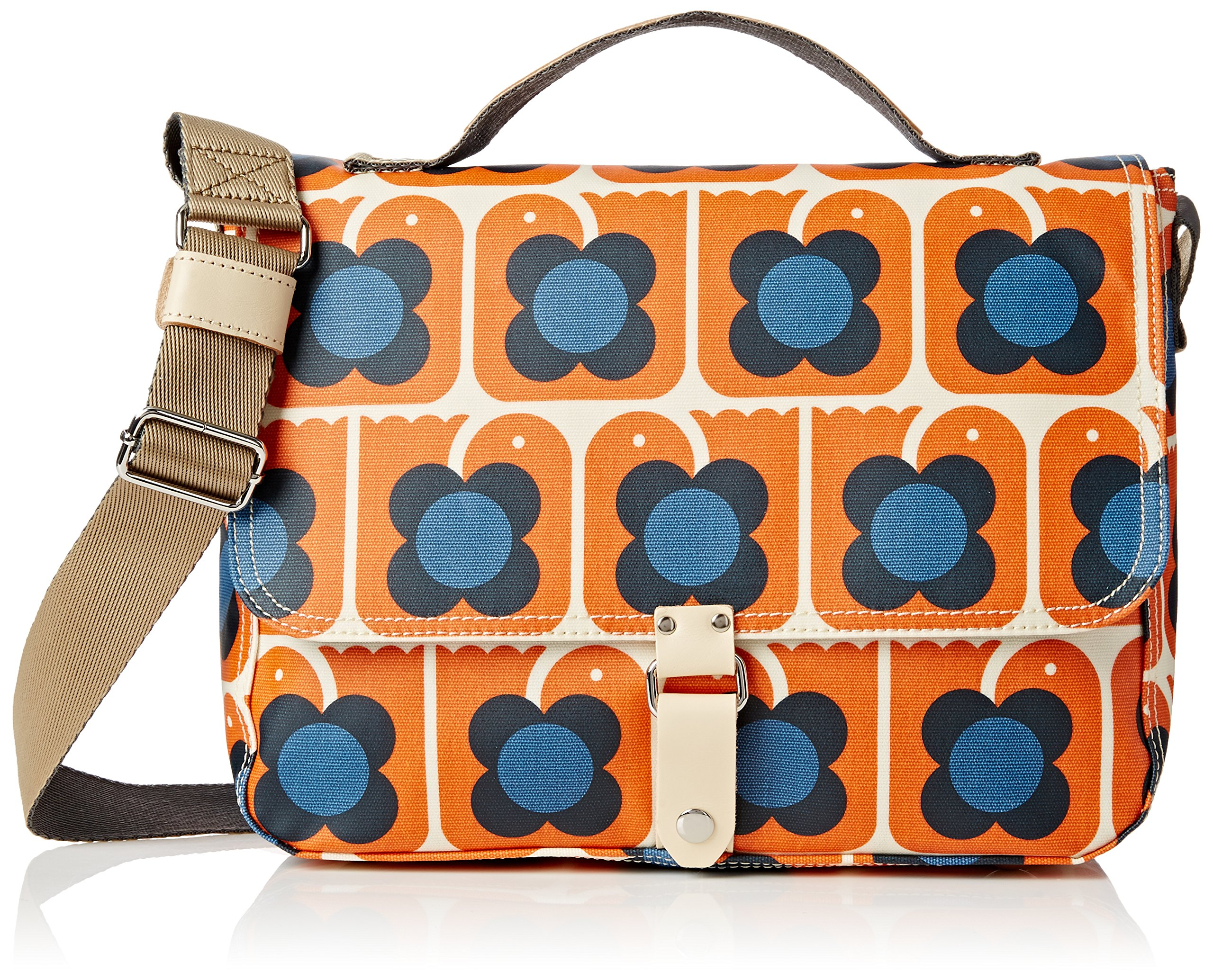 Orla Kiely Love Birds Print Satchel Bag, Persimmon