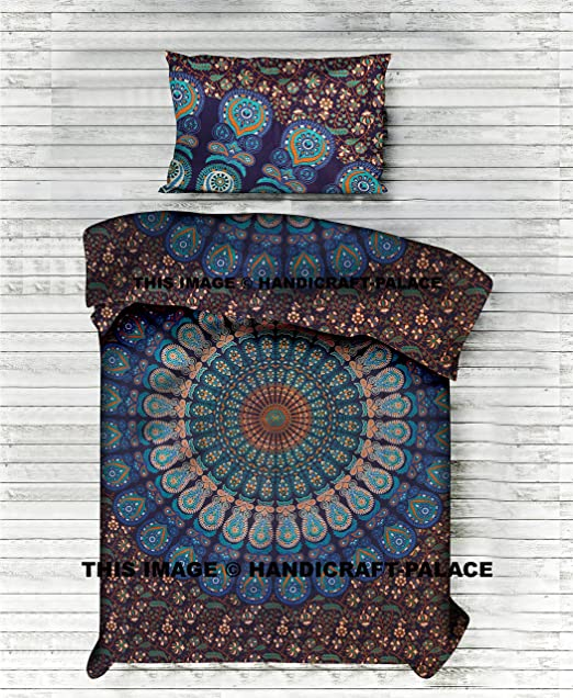 INDIAN OMBRE MANDALA PRINT TWIN BED DUVET QUILT COVER BEDDING SET BLANKET COVER