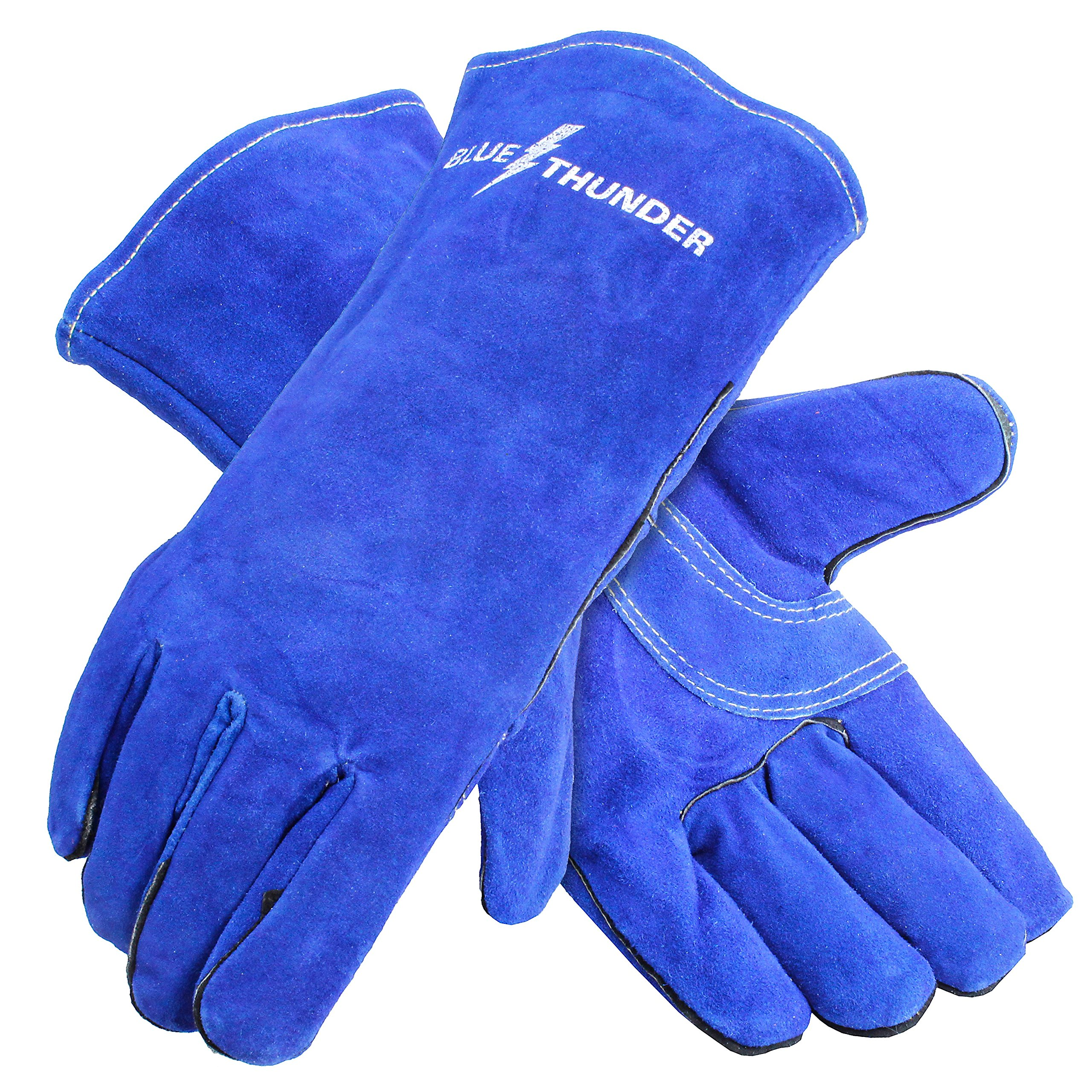 Galeton 2882 Blue Thunder Premium Leather Welders Gloves, Fully Lined, Medium Heat Protection, Large, Blue, (Pack of 12)