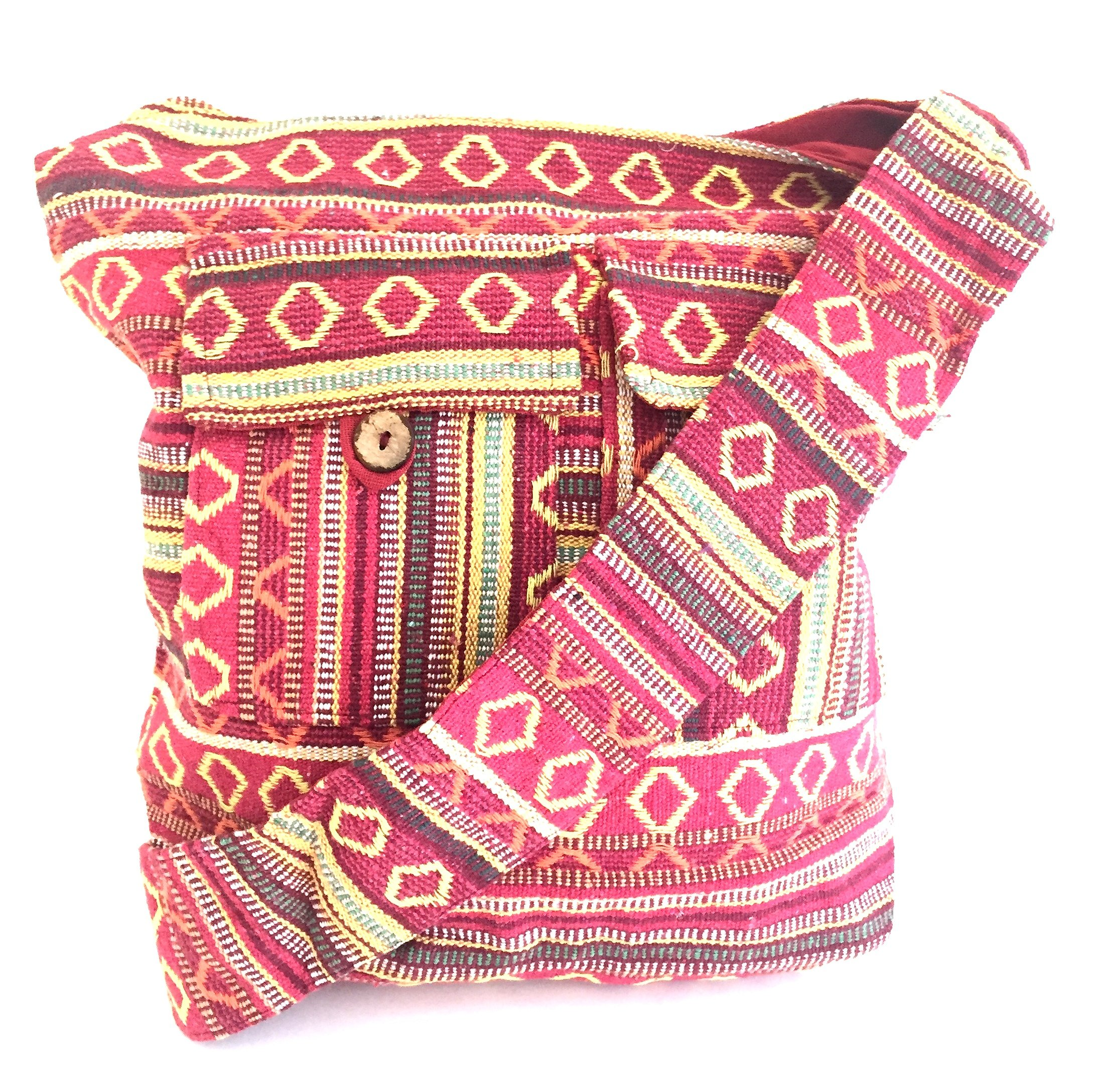 Woven Cotton Aztec Hippie Boho Hobo Messenger Shoulder Bag Large Beach Sling Cross Body Bag - OMA BRAND