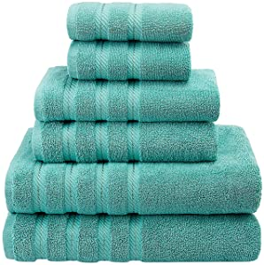 Premium, Luxury Hotel & Spa Quality, 6 Piece Kitchen & Bathroom Turkish Towel Set, Cotton for Maximum Softness & Absorbency by American Soft Linen, [Worth $72.95] (Turquoise Blue)