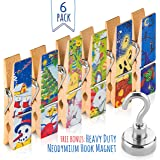 Treats&Smiles Fridge Magnets Set - 6 Big Decorative Magnetic Clips With Holidays Designs - Hang Photos, Memos & Recipes On Your Whiteboard, Kitchen, Office Or Classroom !!! + 1 Magnetic Hook.