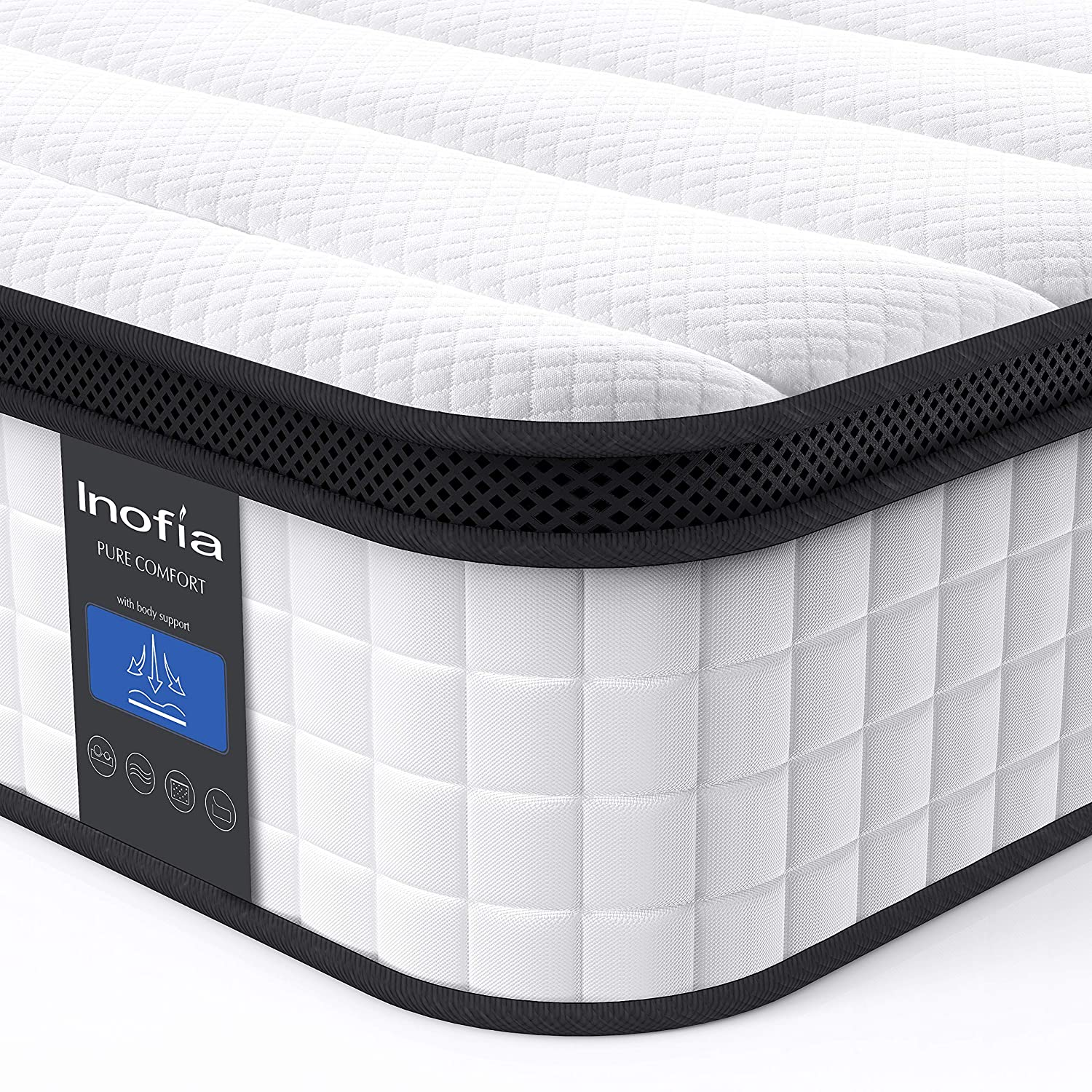 Inofia Full Mattress, 12 Inch Hybrid Innerspring Double Mattress in a Box, Cool Bed with Breathable Soft Knitted Fabric Cover, CertiPUR-US Certified, 100 Risk-Free Nights Trial