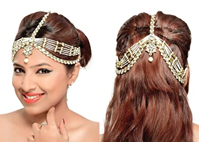 Buy Rich Lady Traditional Hair Style Design Matha Patti For Wedding