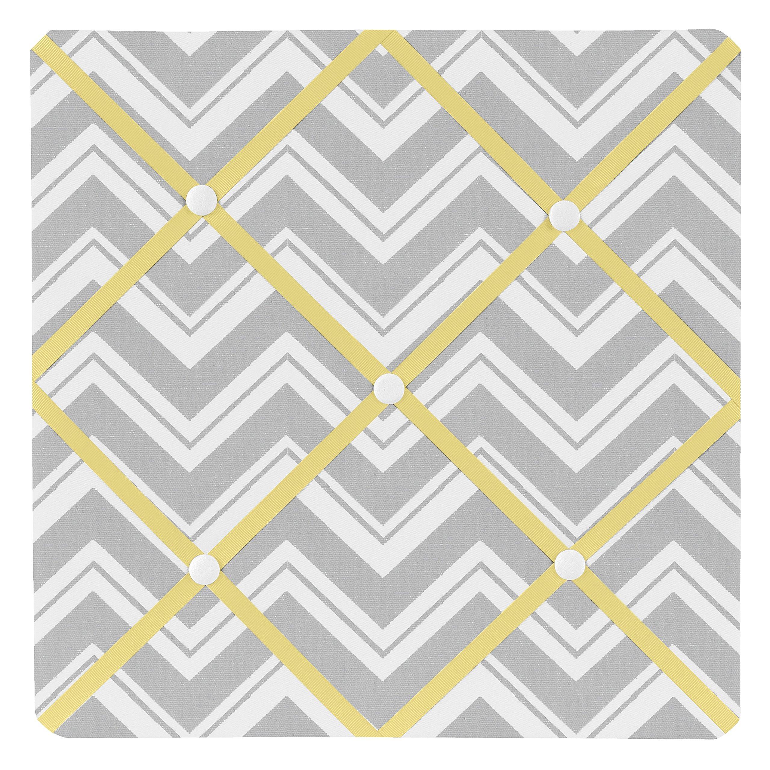 Sweet Jojo Designs Yellow and Gray Chevron Zig Zag Fabric Memory/Memo Photo Bulletin Board