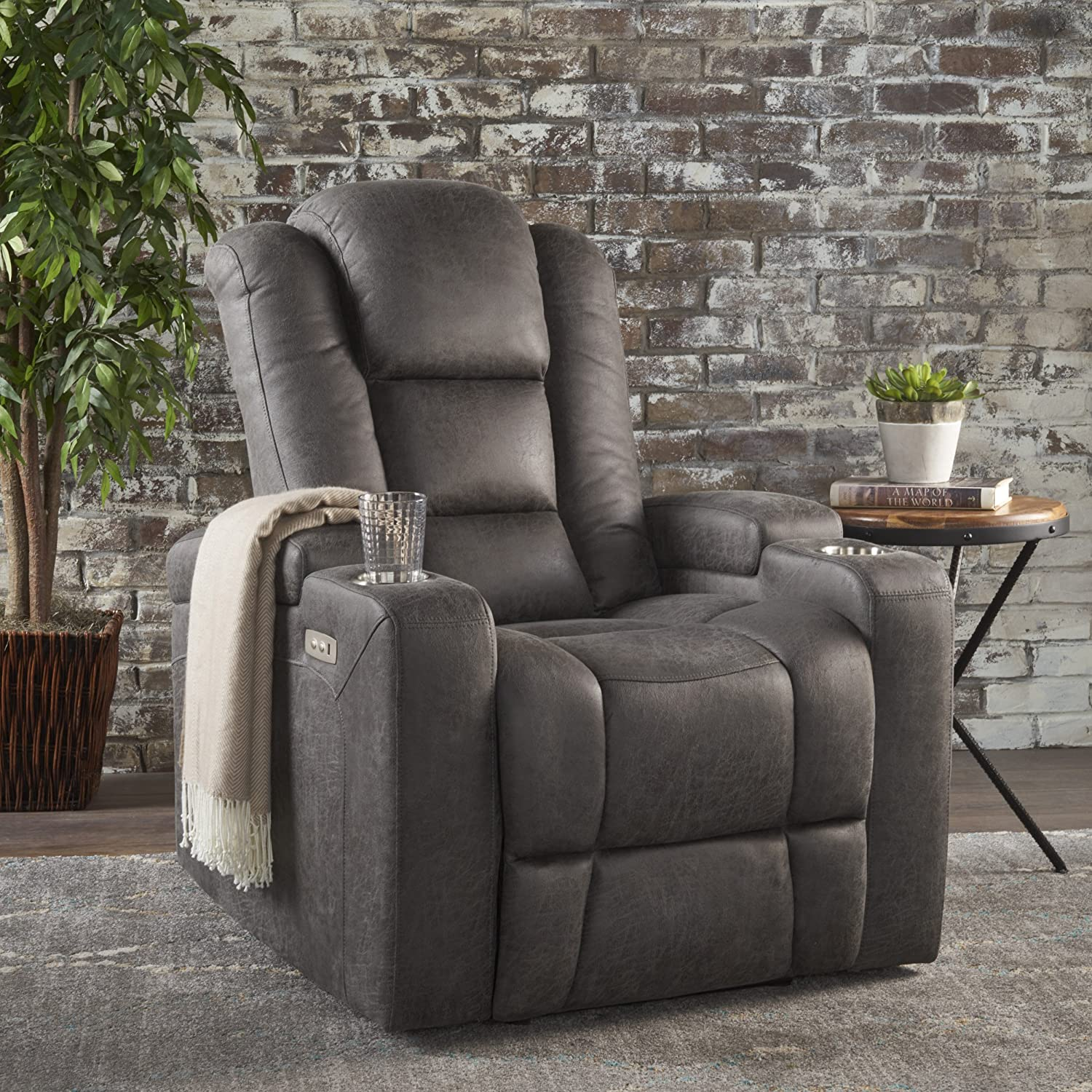 Christopher Knight Home Emersyn Tufted Microfiber Power Recliner with Arm Storage and USB Cord, Slate Black