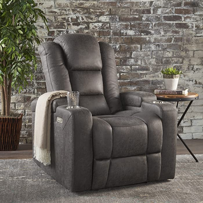 Christopher Knight Home Everette Power Motion Recliner, Slate