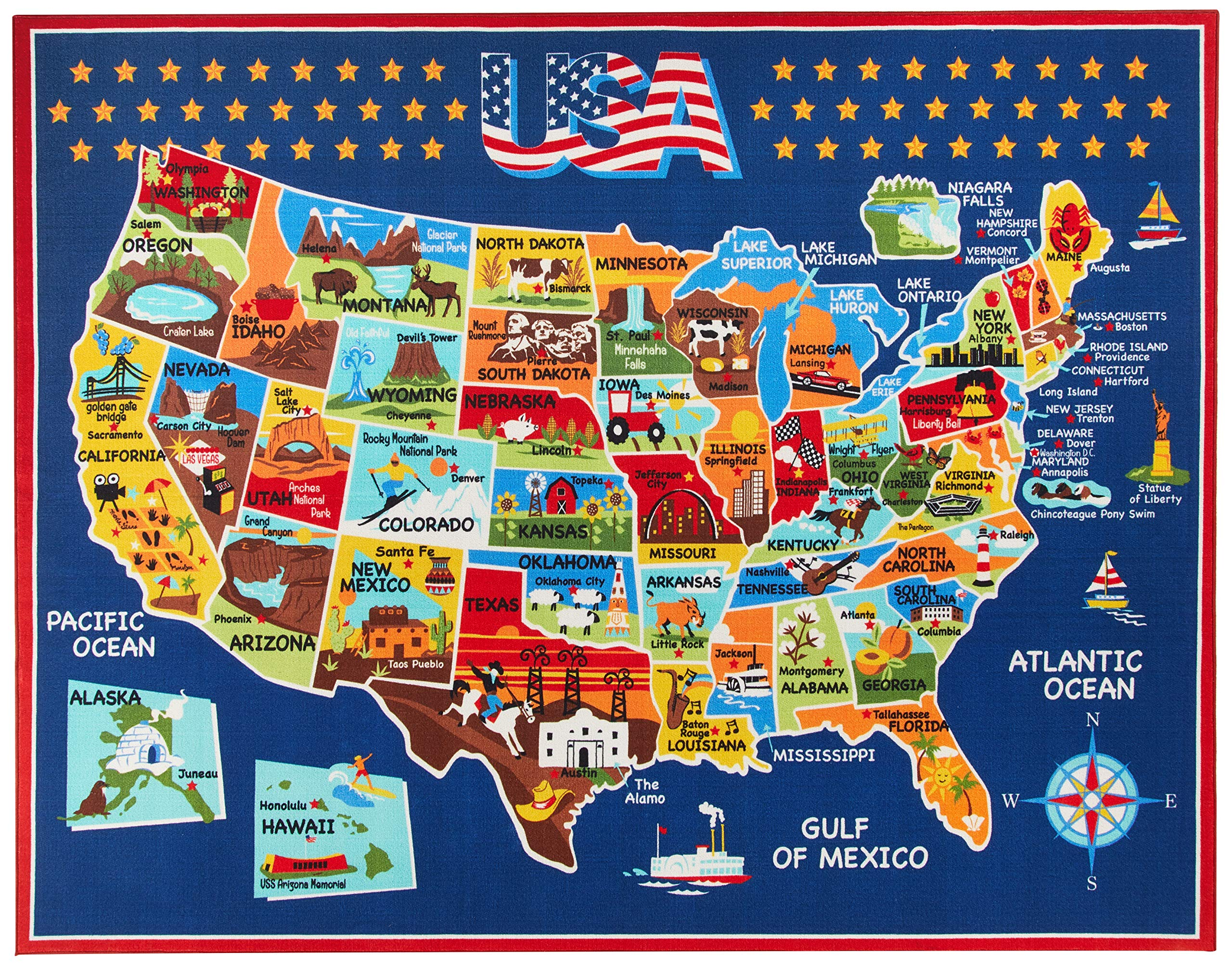 Smithsonian Rug US Map Learning Carpets Bedding Play Mat Classroom Decorations Blue Area Rugs 8x10, Navy by Gertmenian