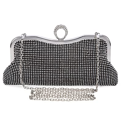 9e7eb63d26 Lifewish Womens Faux Pearl Cascading Bead Rhinestone Evening Clutch Fashion  Purse (Black)