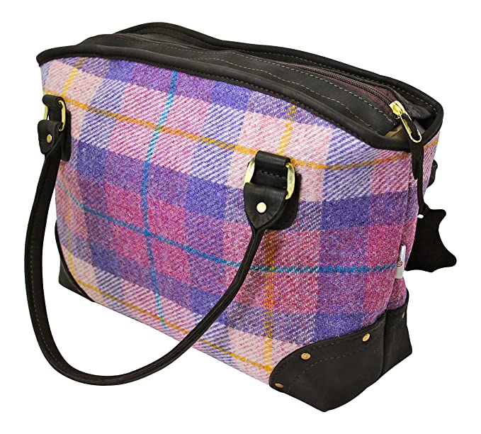 f983ea3407 Amazon.com  Wild Scottish Deerskin Designer Leather Pink and Lilac Tartan  Check Harris Tweed Large Sophie Tote Bag  Garden   Outdoor
