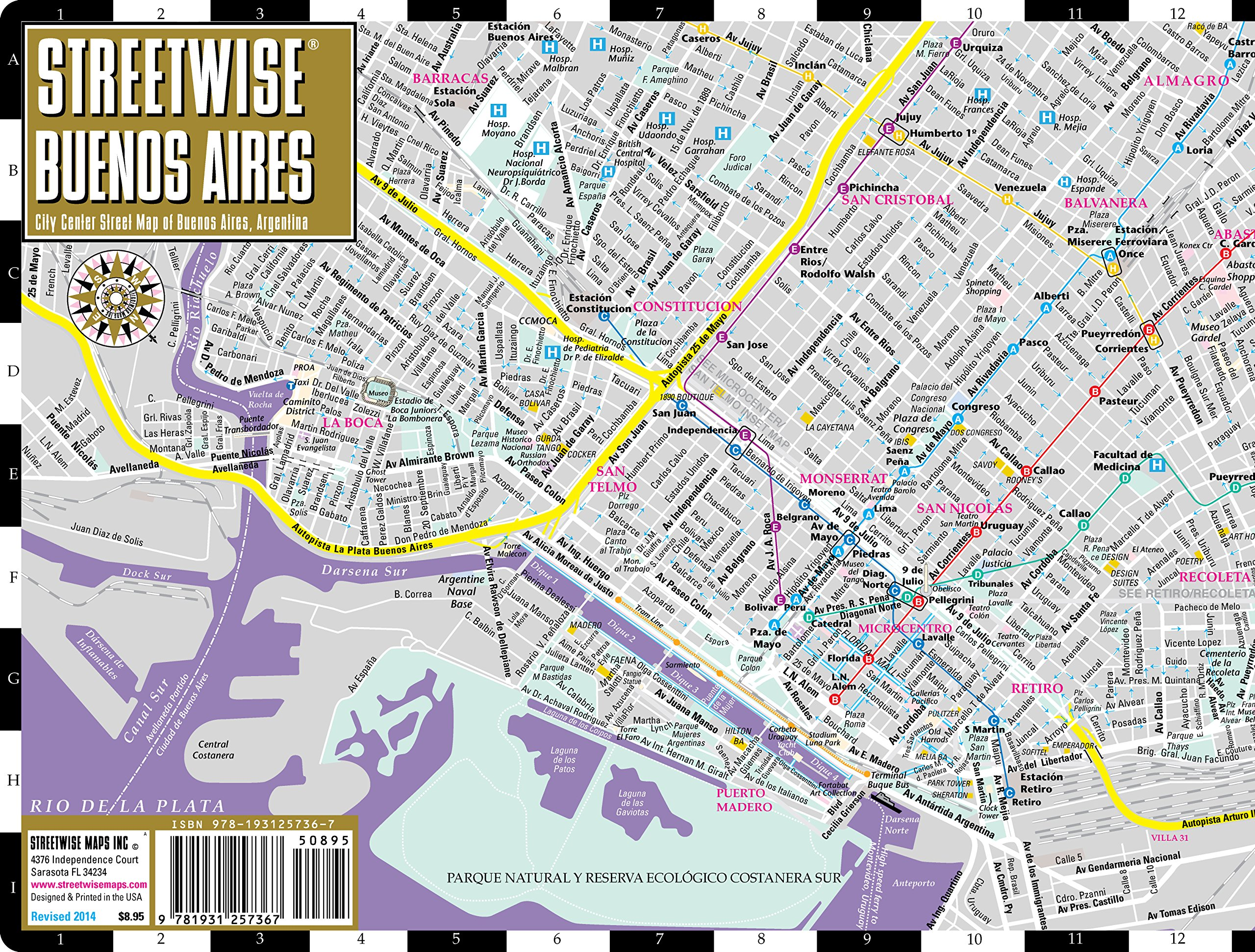 Streetwise Buenos Aires Map Laminated City Center Street Map of – Tourist Map Of Buenos Aires