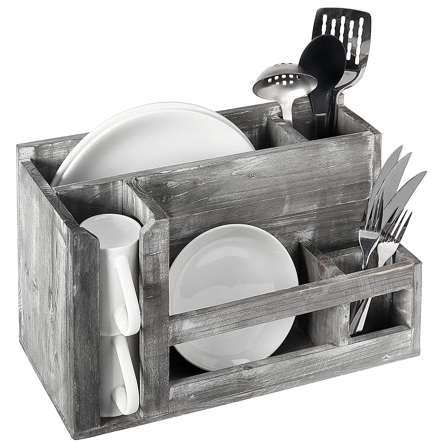 Barn Wood Gray Dish Rack & Utensil Caddy, Wall Mounted or Free Standing Plate Holder Kitchen Organizer MyGift