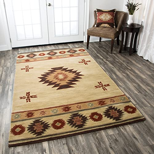 Rizzy Home Collection Wool Area Rug, 9 x 12 , Khaki Brown Burgundy Sage Southwest Tribal