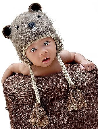 0ea1a91ee84 Amazon.com  Huggalugs Boys or Girls Bucky Beaver Beanie Hat Brown ...
