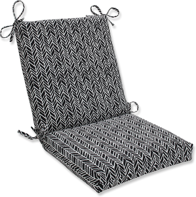 Pillow Perfect Outdoor | Indoor Herringbone Night Squared Corners Chair Cushion