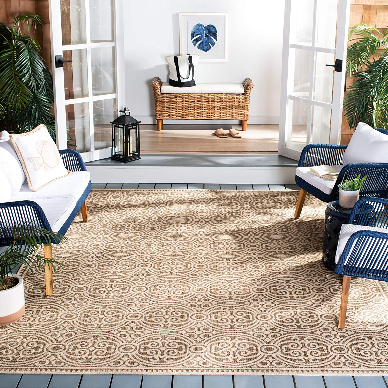 Safavieh Beach House Collection Bhs134c Indoor Outdoor Non Shedding Stain Resistant Patio Backyard Area Rug 4 X 6 Cream Beige Furniture Decor