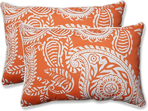 Pillow Perfect Outdoor Indoor Addie Terra Cotta Oversized Lumbar Pillows, 24.5 x 16.5 , Orange, 2 Pack