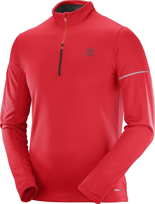5226799ebe Salomon Men's Agile HZ Mid Shirt, Barbados Cherry, Fiery Red, M at ...