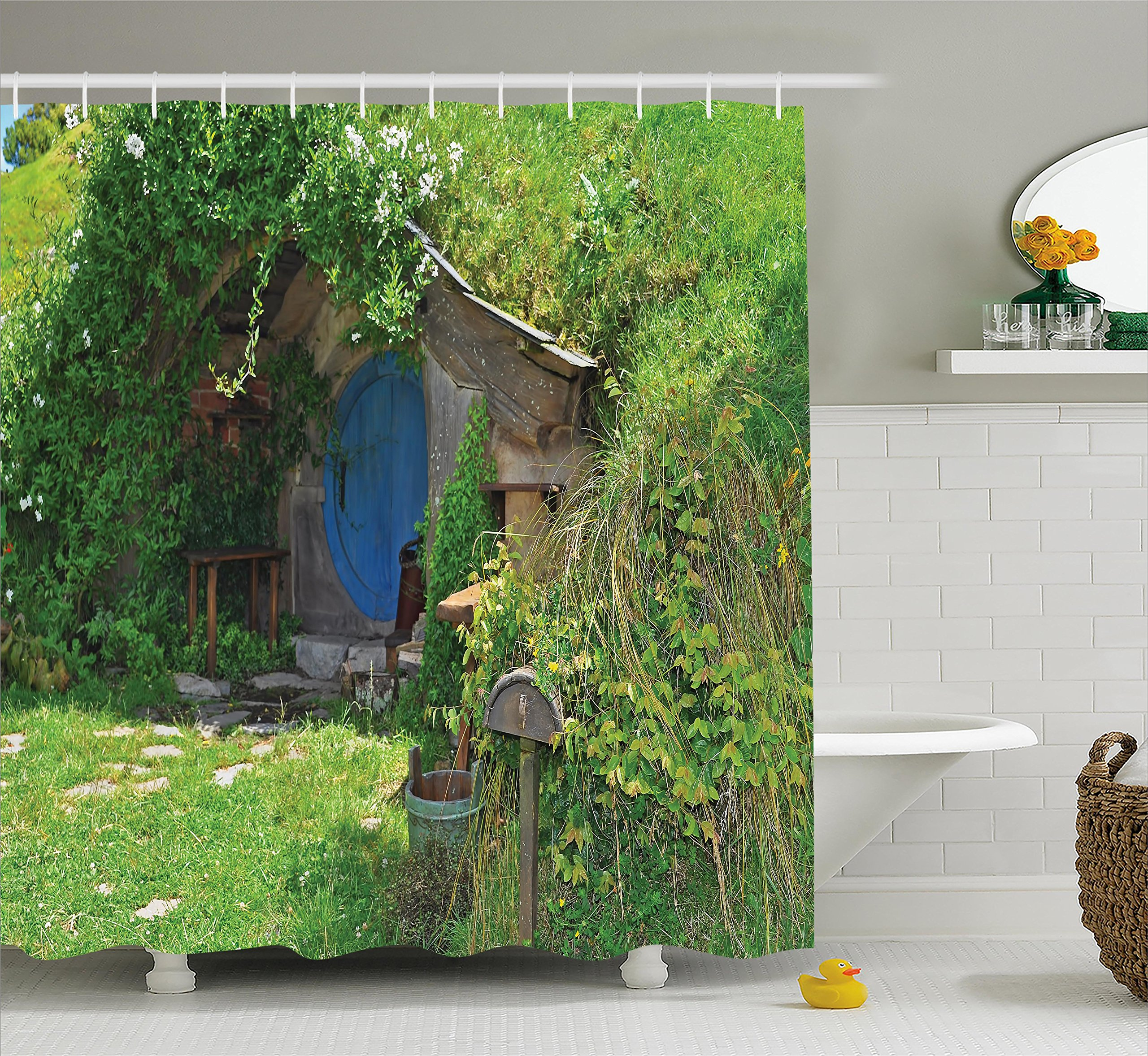 Ambesonne Hobbits Shower Curtain Set, Fantasy Hobbit Land House in Magical Overhill Woods Movie Scene Image New Zealand, Fabric Bathroom Decor with Hooks, 70 inches, Green Brown Blue