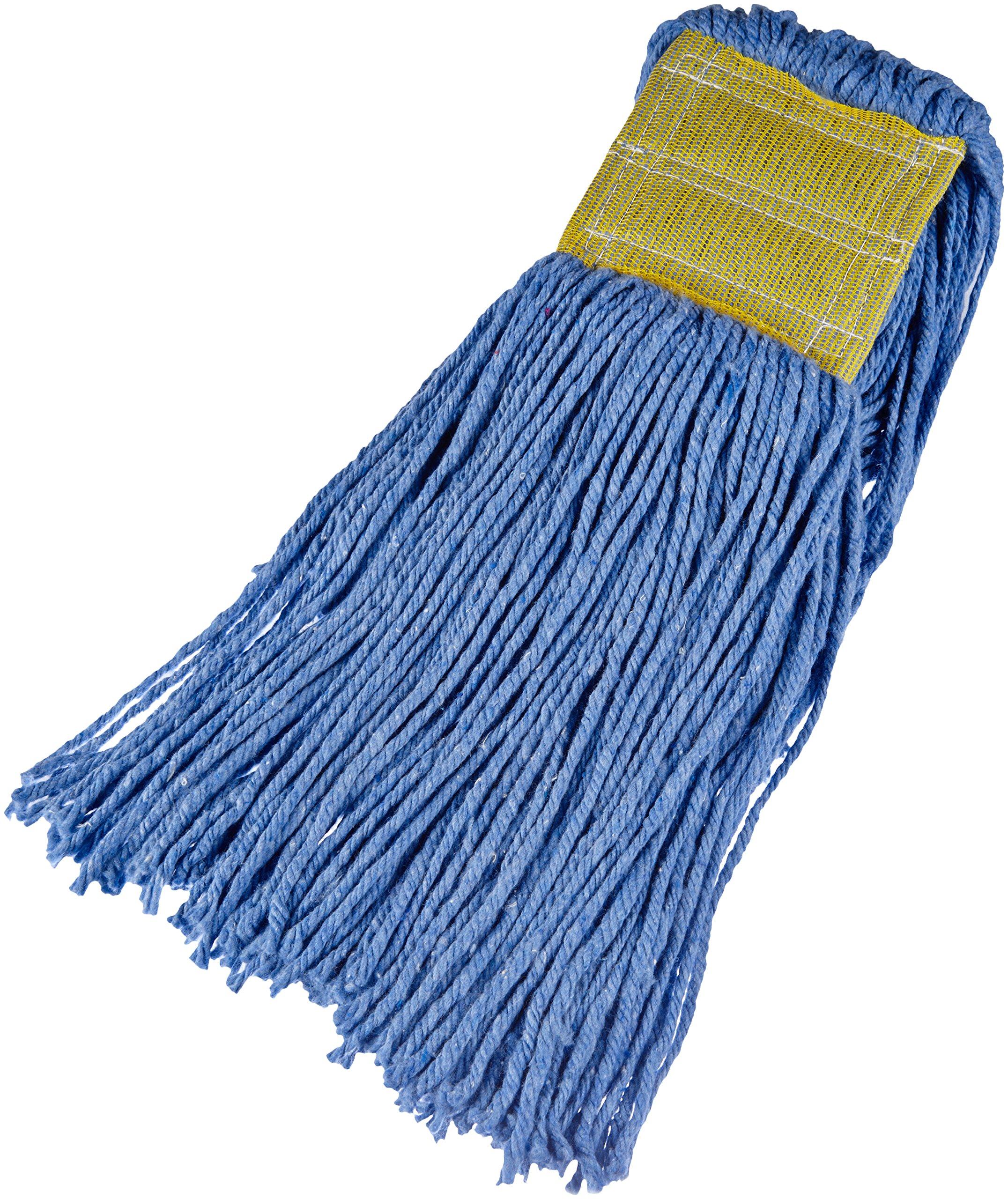 AmazonBasics Cut-End Cotton Mop Head, 5-Inch Headband, Large, Blue - 6-Pack