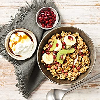 nu3 Muesli Low Carb sabor fresa y manzana | 575g de mezcla de avena y cereales | Desayuno vegano nutritivo bajo en carbohidratos | 100% más fibra y ...