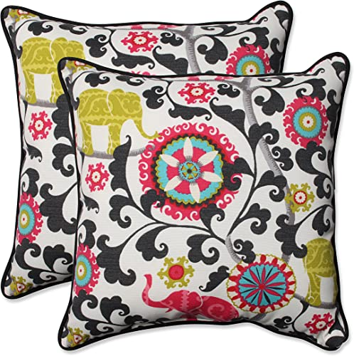 Pillow Perfect Outdoor Indoor Menagerie Spectrum Throw Pillows, 18.5 x 18.5 , Black, 2 Pack
