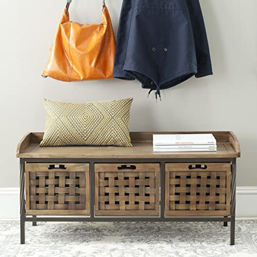 Safavieh American Homes Collection Isaac Filbert Brown Wooden Storage Bench