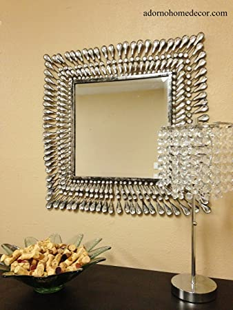 Amazon.com: Metal Wall Square Crystal Mirror Rustic Modern Crystal ...