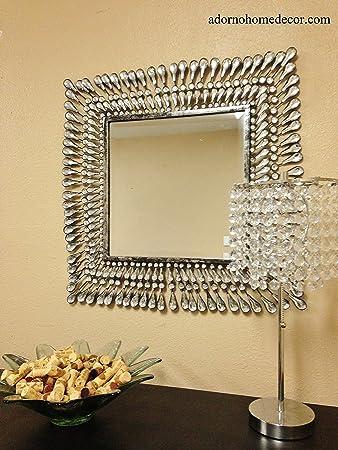 Amazon.com: Metal Wall Square Crystal Mirror Rustic Modern Crystal ...