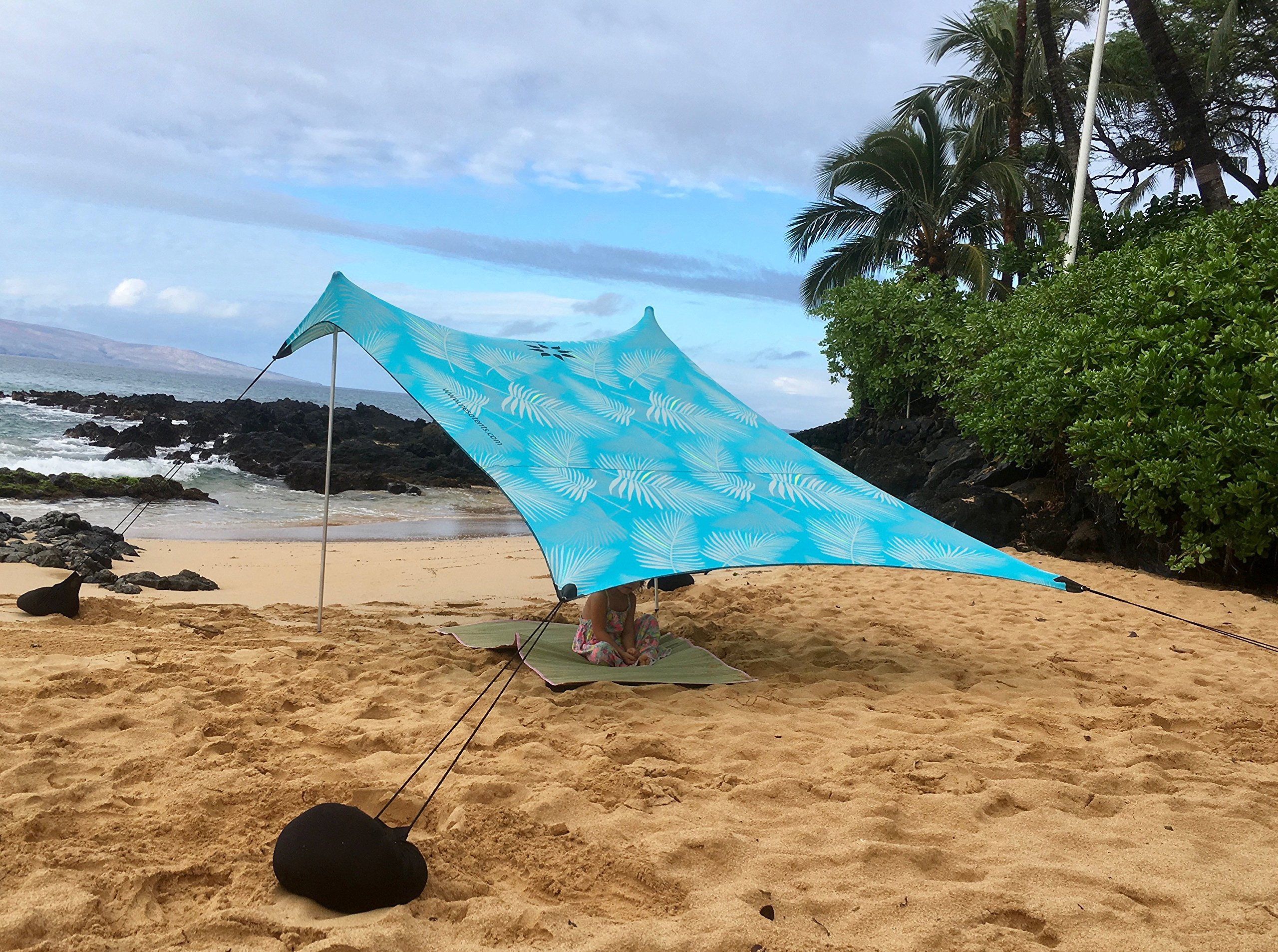 Neso Tents Beach Tent with Sand Anchor, Portable Canopy Sunshade - 7' x 7' - Patented Reinforced Corners(Aqua Fronds) by Neso