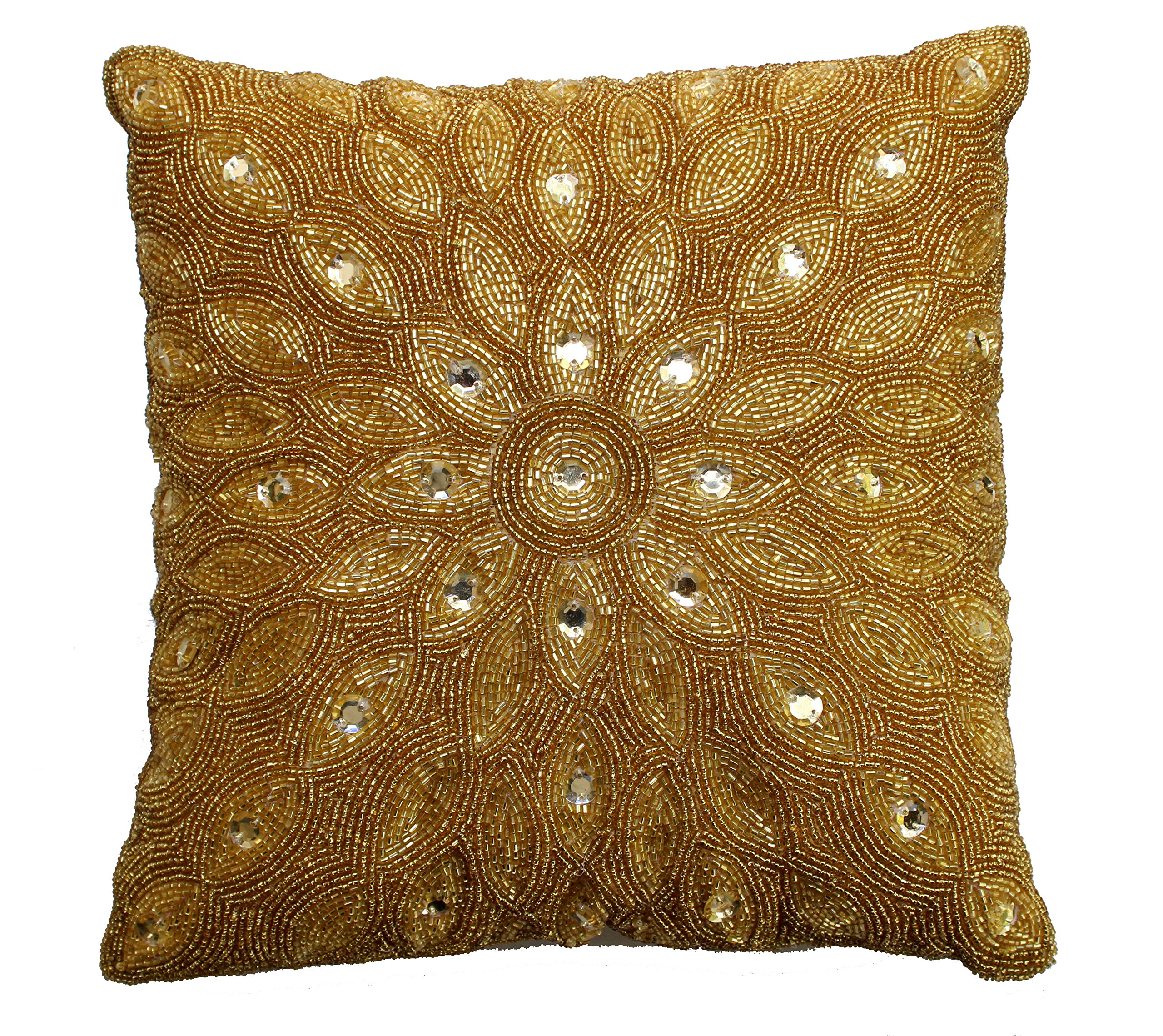 "COTTON CRAFT - Peacock Hand Beaded Decorative Pillow 12x12 Square Gold, Painstakingly and lovingly Handmade by Skilled Artisans, A Beautiful and Elegant Accessory to Dress up Your Couch, Sofa or Bed - Peacock Beaded Pillow - Gold Timeless hand crafted design Size: 12"" x12"". 100% Polyfill - living-room-soft-furnishings, living-room, decorative-pillows - A1tS4LNj%2BdL -"