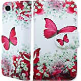 NWNK13® iPhone SE / 5SE / 5 / 5G / 5S Flower Print Book Pu Leather Flip Wallet Case Cover with Gel Inner Frame Plus Screen Protector & Polishing Cloth & Touch Pen