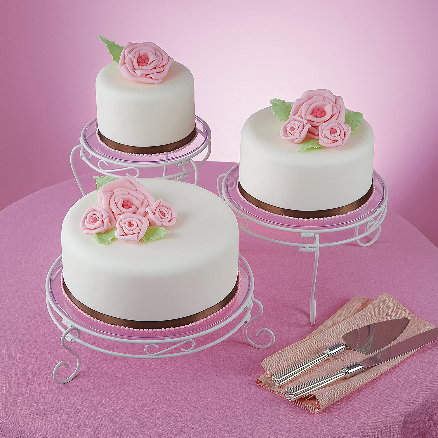 Amazon.com | Wilton White Scrolled Cake and Dessert Stand Set ...