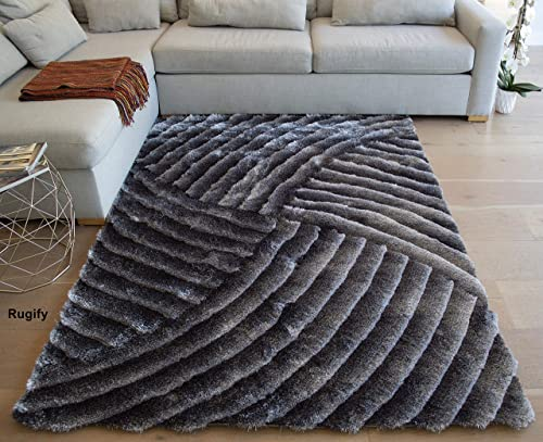 5×7 Feet Light Gray Dark Gray Color Two Tone Shaggy Shag Area Rug Carpet Rug Contemporary Modern 3D Carved Fuzzy Furry Hand-Woven Bedroom Living Room Decorative Designer Pile Plush Large Size